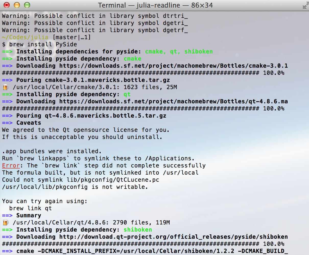 Mac OSX]Error: The `brew link` step did not complete